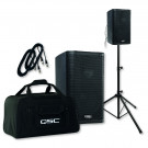 QSC K-8 Speakers, stands, cables & tote bags package